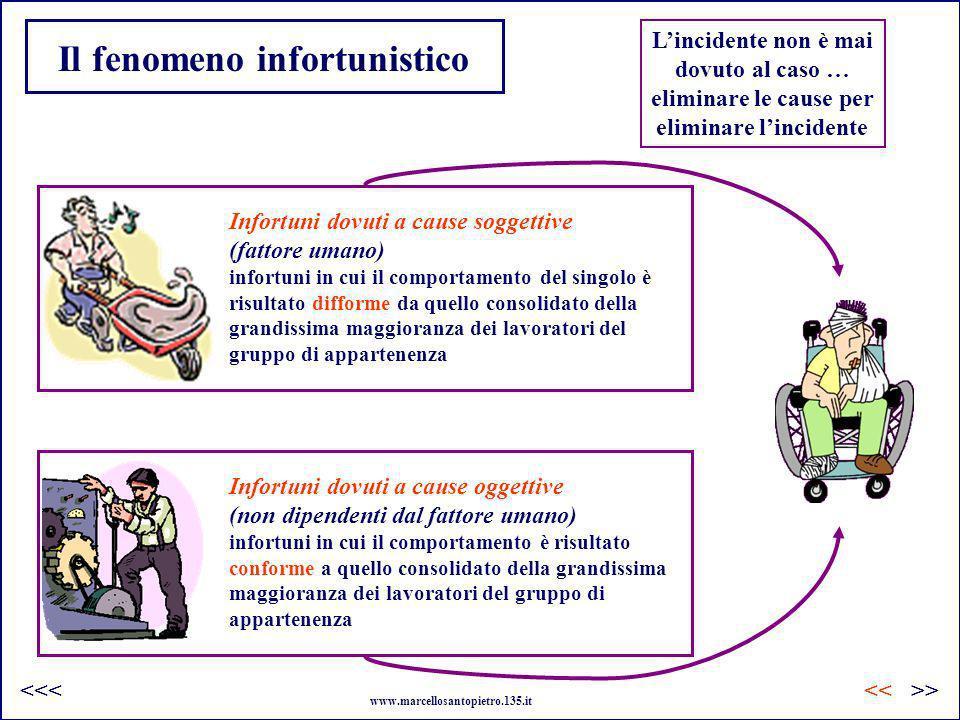 INFORTUNI: fattori/concause >><< www.marcellosantopietro.135.it <<< Scarsa padronanza della macchina Assuefazione ai rischi (abitudine dei gesti) Banalizzazione dei comportamenti di fronte al pericolo Sottostima dei rischi (neutralizzazione delle protezioni) Diminuzione dellattenzione nel lavoro di sorveglianza (stanchezza) Mancato rispetto delle procedure Aumento dello stress (rumore, ritmo, ecc..) Precarietà del lavoro che conduce ad una formazione insufficiente Manutenzione poco o male eseguita (rischi insospettati) Dispositivi di protezione inadatti Sistemi di comando e controllo sofisticati Rischi propri della macchina (movimenti alternati, avviamento imprevisto, arresto precario) Macchine non adatte allo scopo o allambiente (allarme sonoro mascherato dal rumore del parco macchine) Circolazione di persone (linee automatiche) Assemblaggio di macchine di provenienze e tecnologie differenti Flusso di materiale o di prodotti tra le macchine