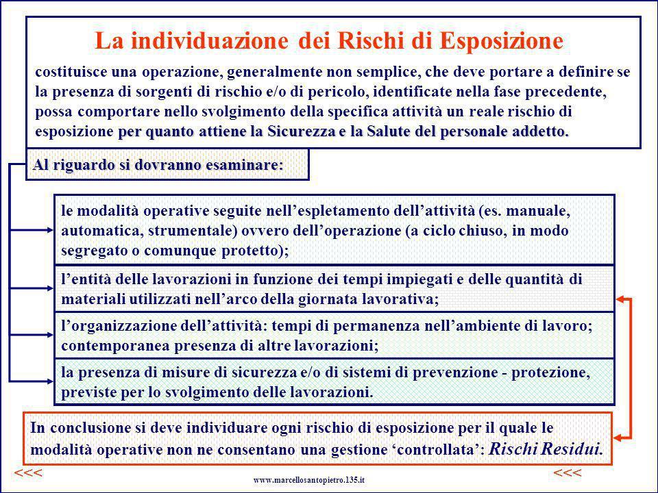 La individuazione dei Rischi di Esposizione costituisce una operazione, generalmente non semplice, che deve portare a definire se la presenza di sorge