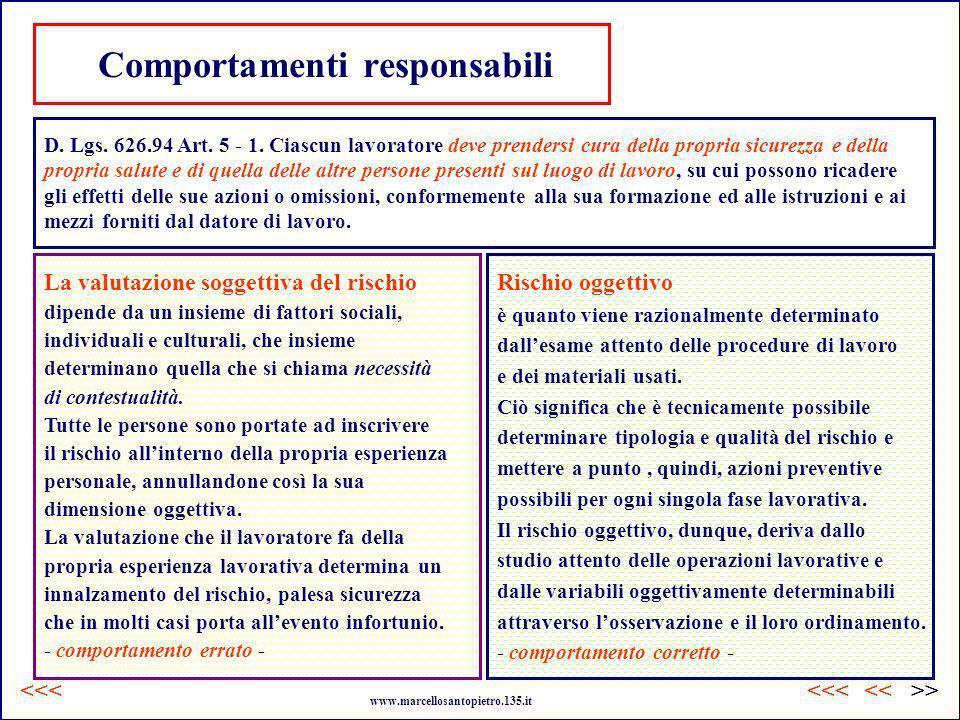 Comportamenti responsabili D. Lgs. 626.94 Art. 5 - 1. Ciascun lavoratore deve prendersi cura della propria sicurezza e della propria salute e di quell