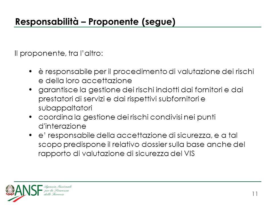 11 Responsabilità – Proponente (segue) Il proponente, tra laltro: è responsabile per il procedimento di valutazione dei rischi e della loro accettazio