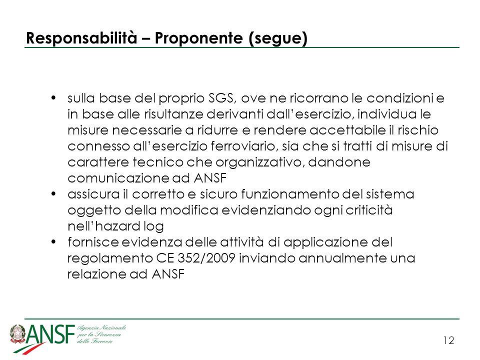 12 Responsabilità – Proponente (segue) sulla base del proprio SGS, ove ne ricorrano le condizioni e in base alle risultanze derivanti dallesercizio, i