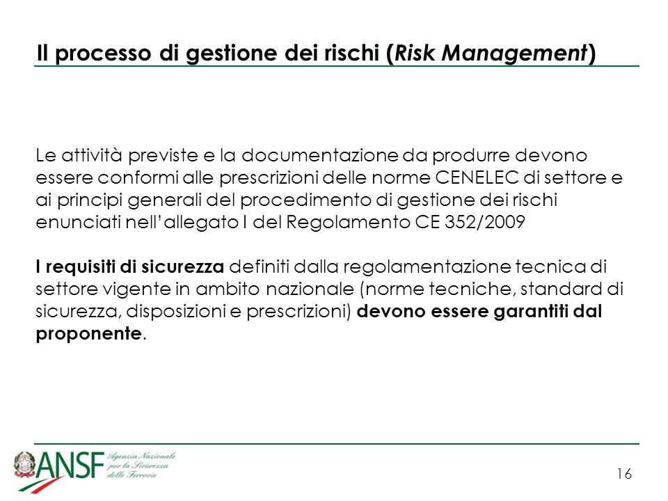 16 Il processo di gestione dei rischi ( Risk Management ) Le attività previste e la documentazione da produrre devono essere conformi alle prescrizion