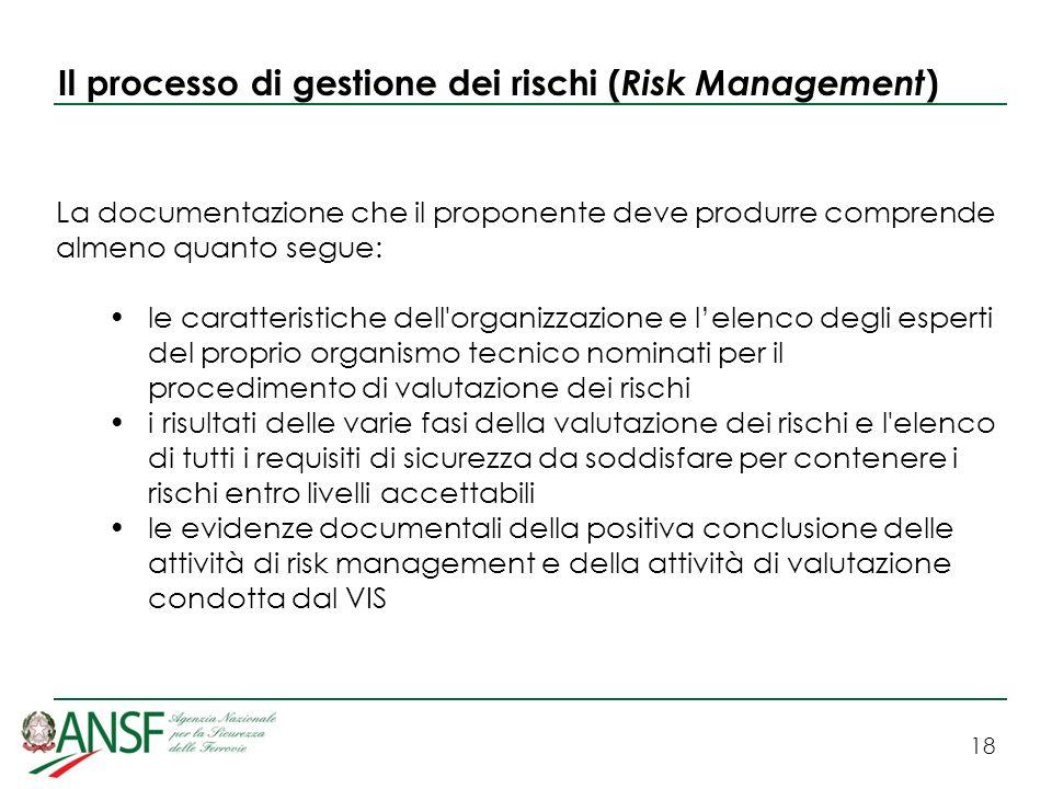 18 Il processo di gestione dei rischi ( Risk Management ) La documentazione che il proponente deve produrre comprende almeno quanto segue: le caratter