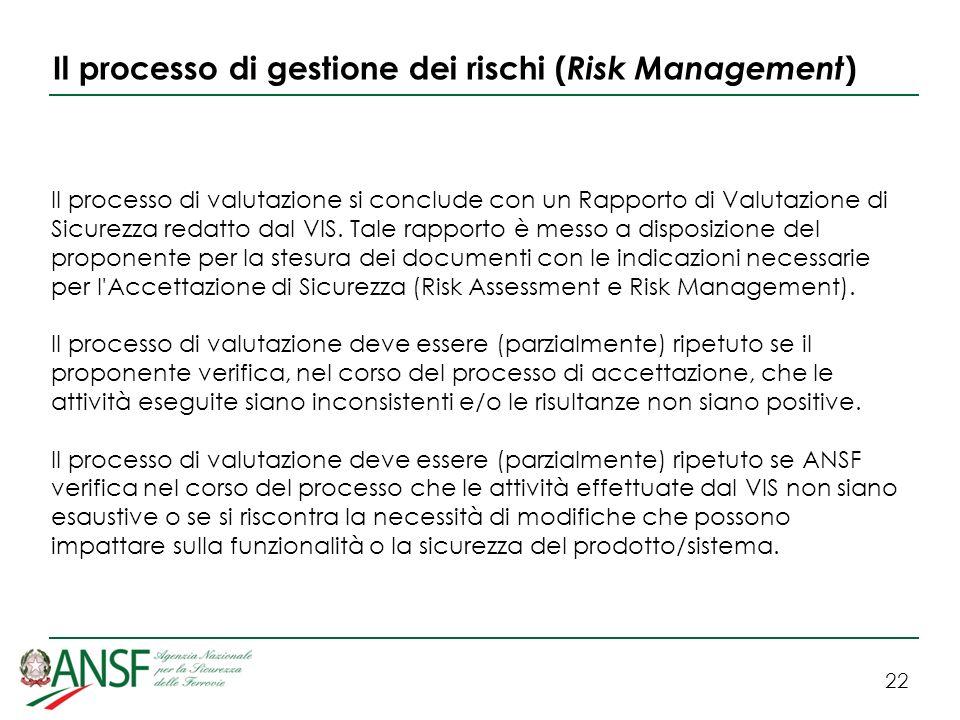 22 Il processo di gestione dei rischi ( Risk Management ) Il processo di valutazione si conclude con un Rapporto di Valutazione di Sicurezza redatto dal VIS.