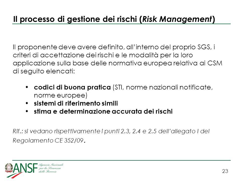 23 Il processo di gestione dei rischi ( Risk Management ) Il proponente deve avere definito, allinterno del proprio SGS, i criteri di accettazione dei rischi e le modalità per la loro applicazione sulla base delle normativa europea relativa ai CSM di seguito elencati: codici di buona pratica (STI, norme nazionali notificate, norme europee) sistemi di riferimento simili stima e determinazione accurata dei rischi Rif.: si vedano rispettivamente i punti 2.3, 2.4 e 2.5 dellallegato I del Regolamento CE 352/09.