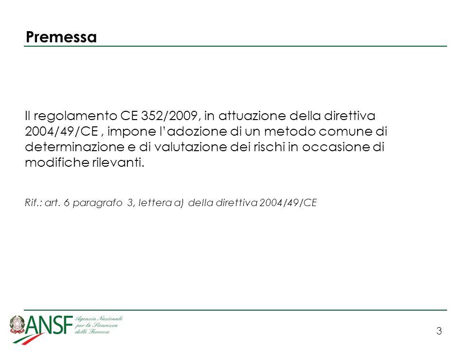 3 Premessa Il regolamento CE 352/2009, in attuazione della direttiva 2004/49/CE, impone ladozione di un metodo comune di determinazione e di valutazione dei rischi in occasione di modifiche rilevanti.