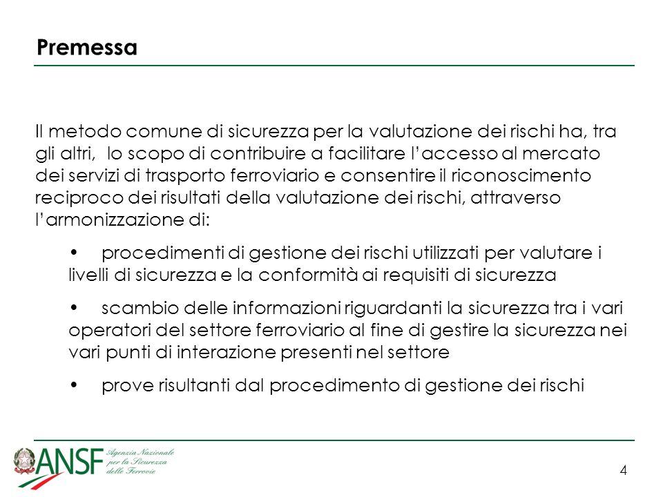 4 Premessa Il metodo comune di sicurezza per la valutazione dei rischi ha, tra gli altri, lo scopo di contribuire a facilitare laccesso al mercato dei