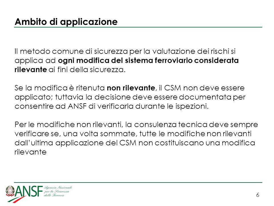 7 Ambito di applicazione A decorrere dal 19 luglio 2010 il CSM deve essere applicato: a tutte le modifiche tecniche rilevanti che riguardano i veicoli, secondo quanto definito dallarticolo 2, lettera c), della direttiva 2008/57/CE a tutte le modifiche rilevanti che riguardano i sottosistemi strutturali (nellaccezione STI), se previsto dallarticolo 15, paragrafo 1, della direttiva 2008/57/CE o da una Specifica Tecnica di Interoperabilità (STI) Il CSM deve quindi essere applicato a tutti i prodotti e a tutte le applicazioni in sicurezza in ambito ferroviario italiano