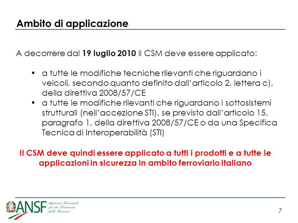 8 Ambito di applicazione A decorrere dal 1° luglio 2012 il CSM dovrà essere esteso ad ogni modifica considerata rilevante di tipo tecnico, operativo (di esercizio) o organizzativo (con impatto sullesercizio) del sistema ferroviario, come previsto da punto 2, lettera d), dellallegato III, della direttiva 2004/49/CE relativa alla sicurezza.