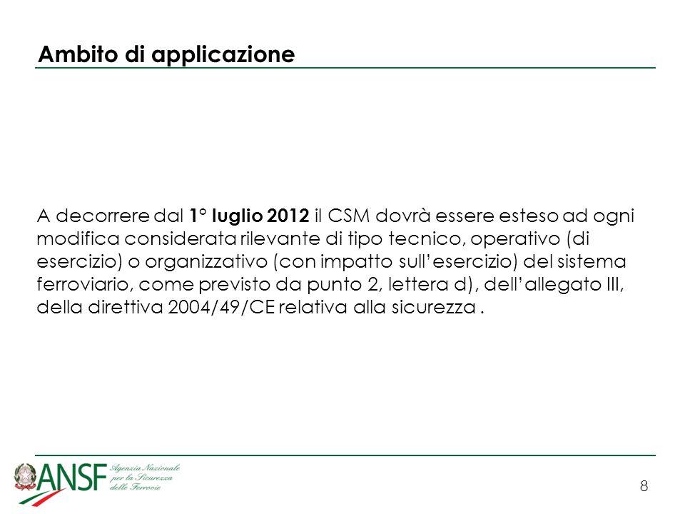 8 Ambito di applicazione A decorrere dal 1° luglio 2012 il CSM dovrà essere esteso ad ogni modifica considerata rilevante di tipo tecnico, operativo (