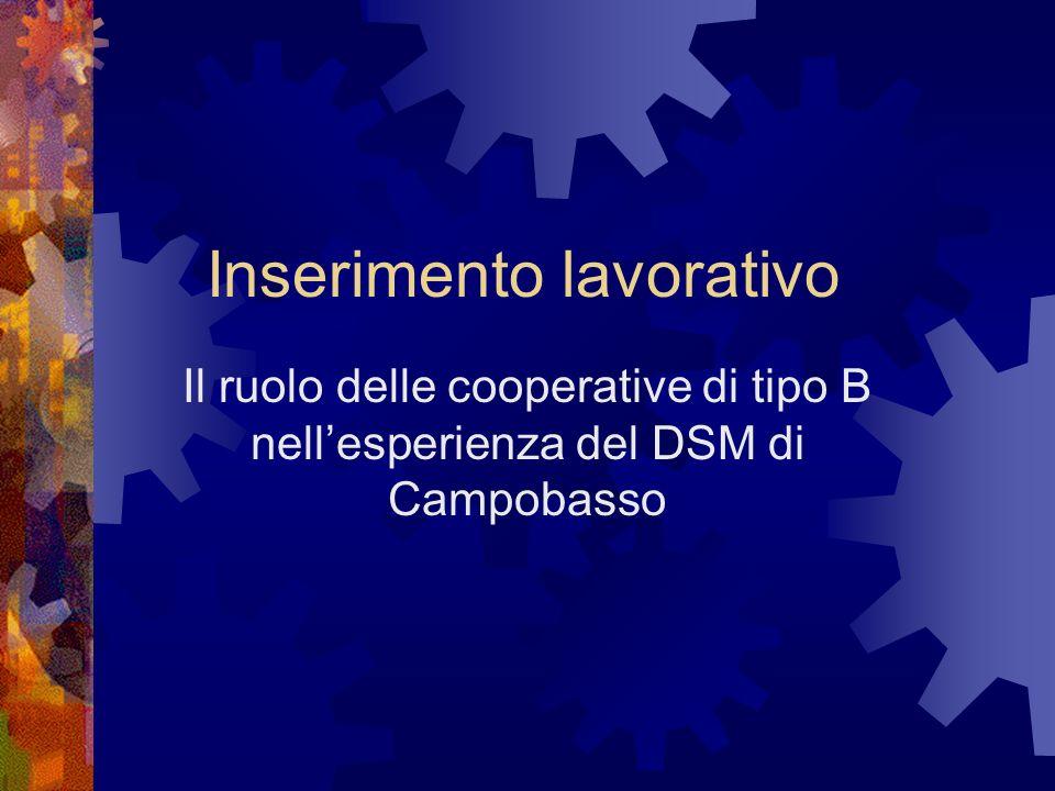 Inserimento lavorativo Il ruolo delle cooperative di tipo B nellesperienza del DSM di Campobasso