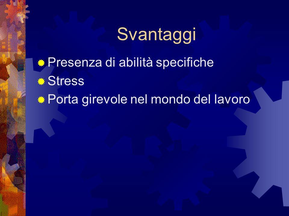 Svantaggi Presenza di abilità specifiche Stress Porta girevole nel mondo del lavoro