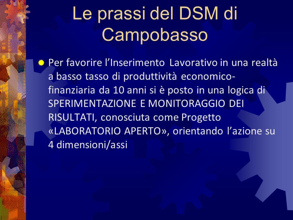 Le prassi del DSM di Campobasso Per favorire lInserimento Lavorativo in una realtà a basso tasso di produttività economico- finanziaria da 10 anni si è posto in una logica di SPERIMENTAZIONE E MONITORAGGIO DEI RISULTATI, conosciuta come Progetto «LABORATORIO APERTO», orientando lazione su 4 dimensioni/assi