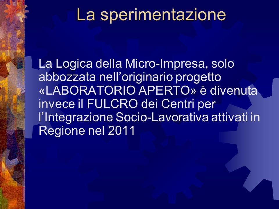 La sperimentazione La Logica della Micro-Impresa, solo abbozzata nelloriginario progetto «LABORATORIO APERTO» è divenuta invece il FULCRO dei Centri per lIntegrazione Socio-Lavorativa attivati in Regione nel 2011