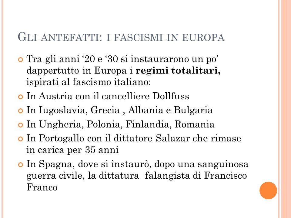 G LI ANTEFATTI : I FASCISMI IN EUROPA Tra gli anni 20 e 30 si instaurarono un po dappertutto in Europa i regimi totalitari, ispirati al fascismo itali