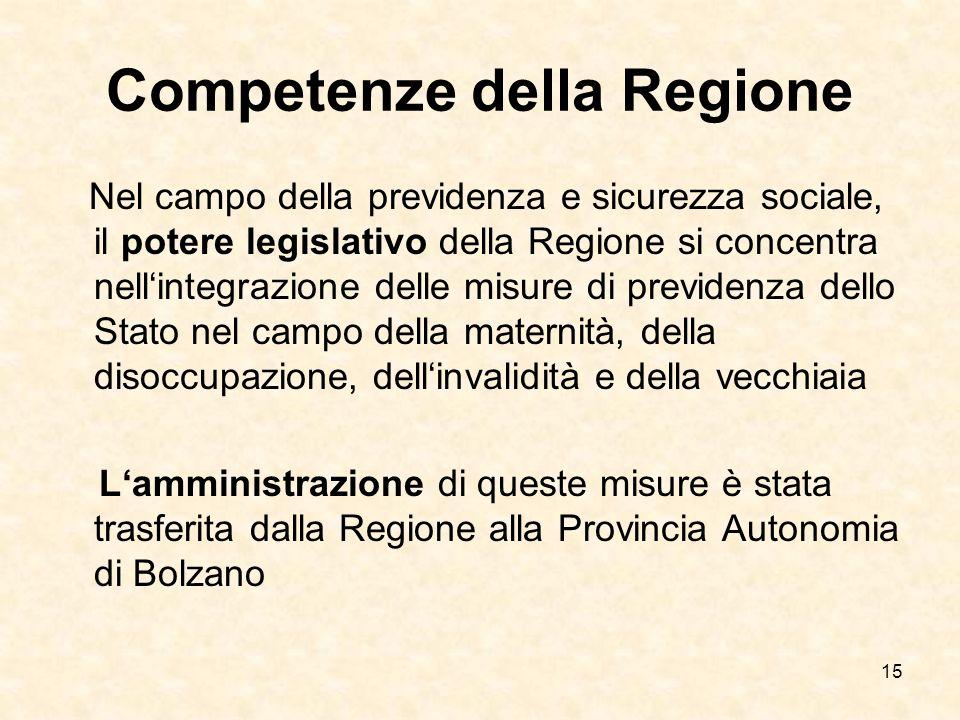 15 Competenze della Regione Nel campo della previdenza e sicurezza sociale, il potere legislativo della Regione si concentra nellintegrazione delle mi