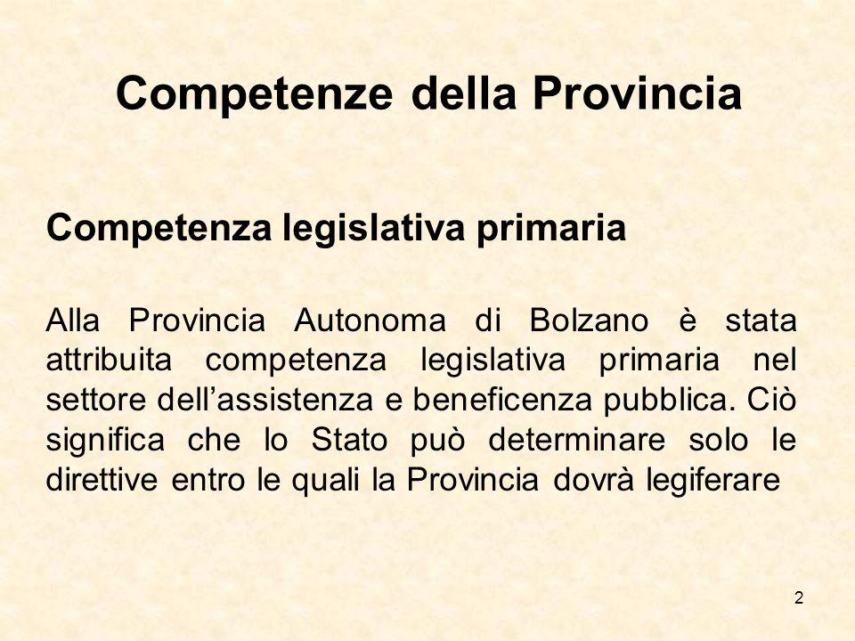 2 Competenze della Provincia Competenza legislativa primaria Alla Provincia Autonoma di Bolzano è stata attribuita competenza legislativa primaria nel