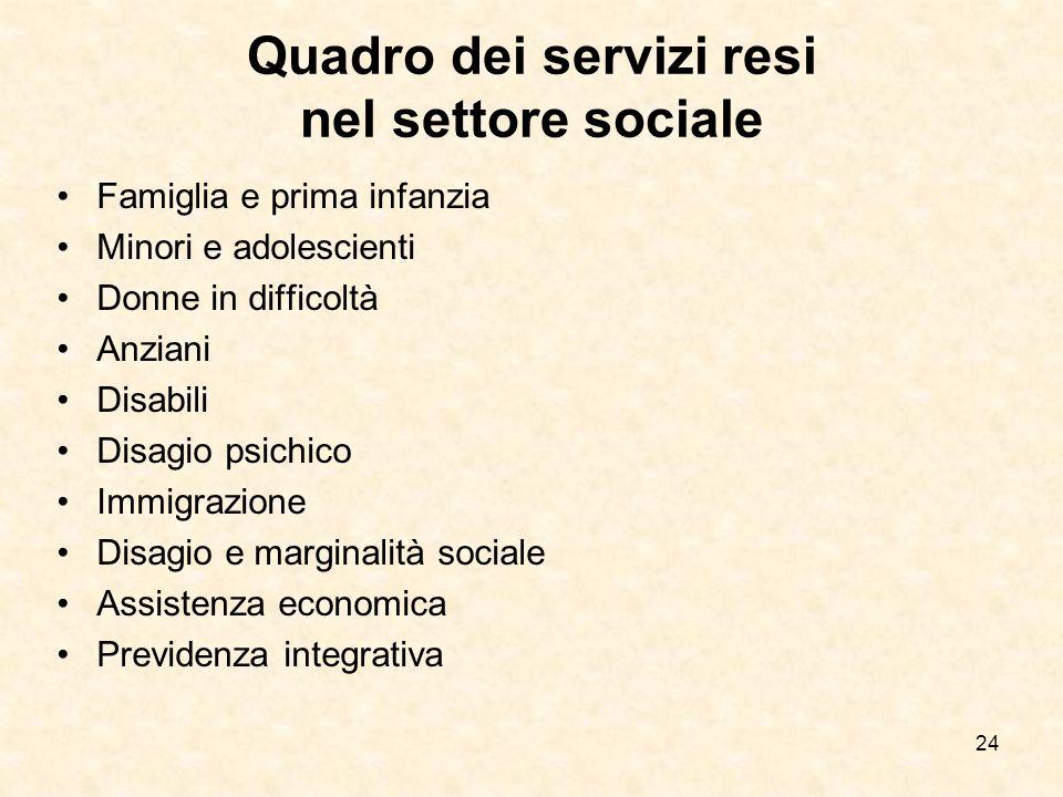 24 Quadro dei servizi resi nel settore sociale Famiglia e prima infanzia Minori e adolescienti Donne in difficoltà Anziani Disabili Disagio psichico I