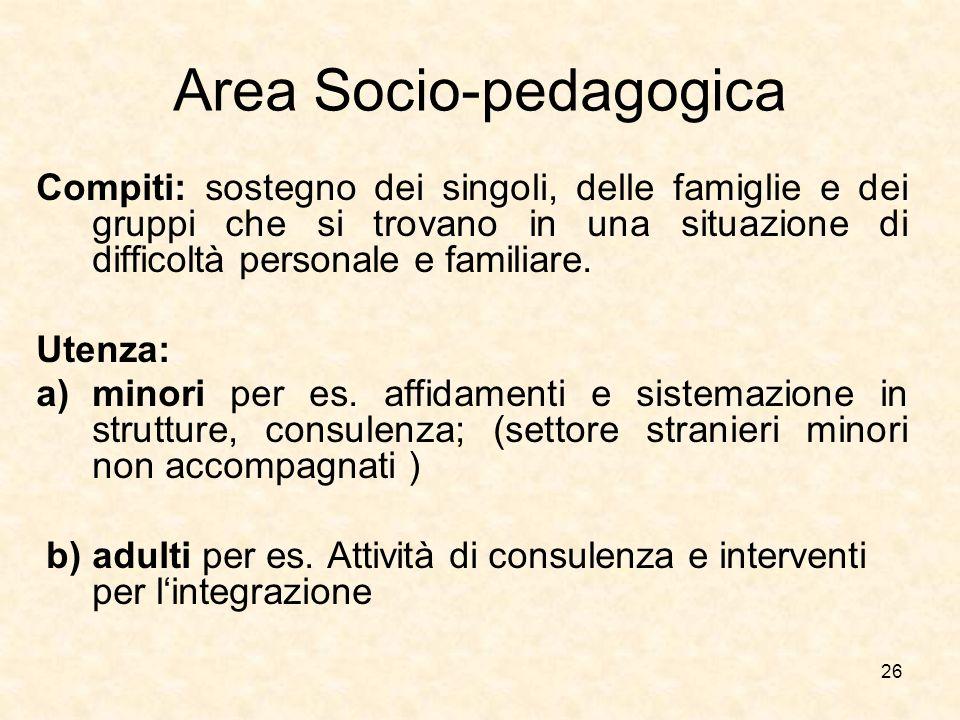 26 Area Socio-pedagogica Compiti: sostegno dei singoli, delle famiglie e dei gruppi che si trovano in una situazione di difficoltà personale e familia