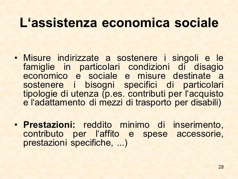 28 Lassistenza economica sociale Misure indirizzate a sostenere i singoli e le famiglie in particolari condizioni di disagio economico e sociale e mis