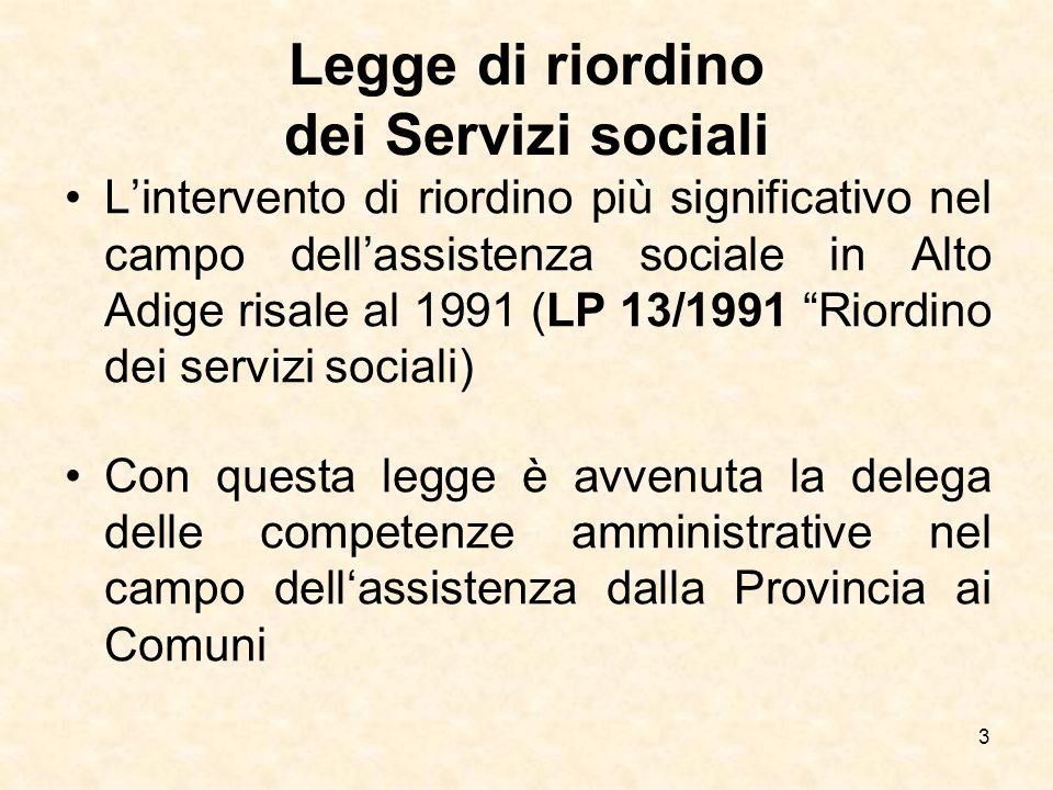 3 Legge di riordino dei Servizi sociali Lintervento di riordino più significativo nel campo dellassistenza sociale in Alto Adige risale al 1991 (LP 13