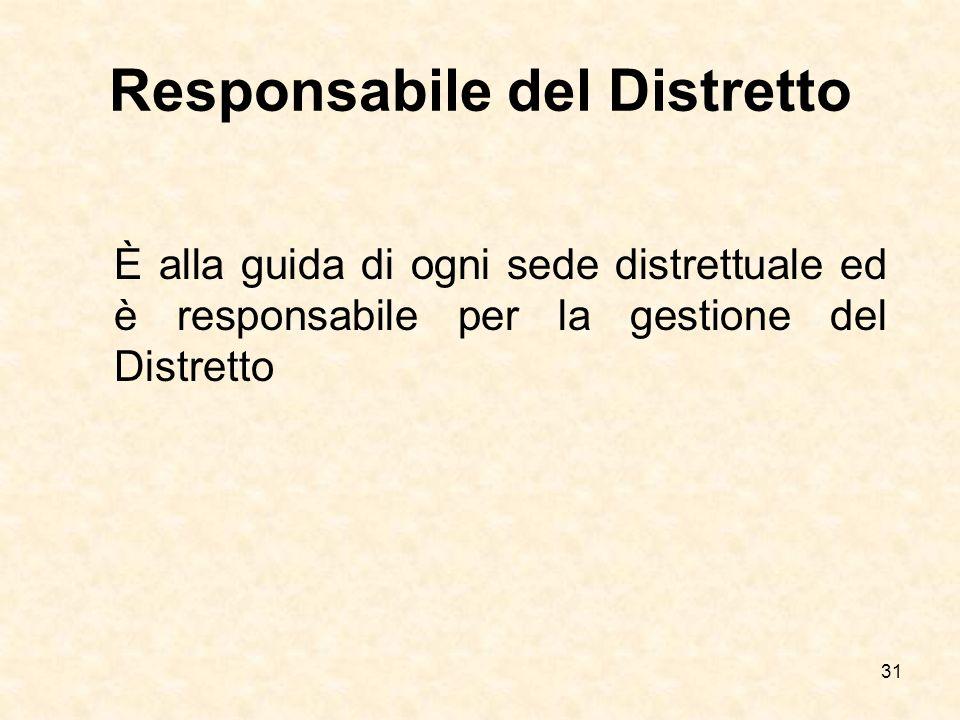 31 Responsabile del Distretto È alla guida di ogni sede distrettuale ed è responsabile per la gestione del Distretto