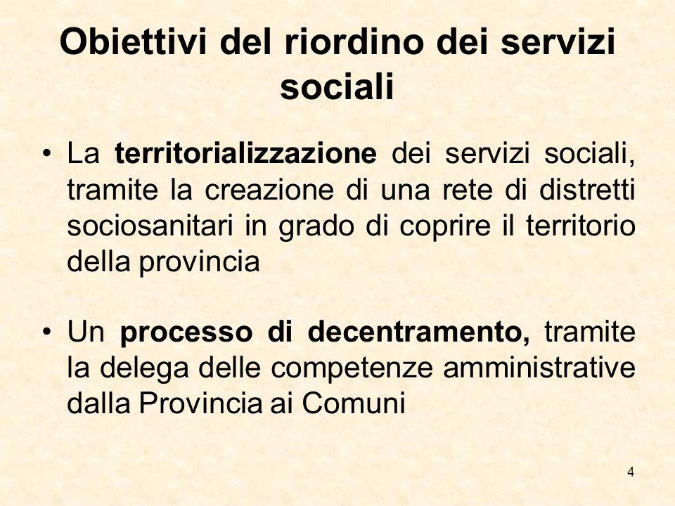 4 Obiettivi del riordino dei servizi sociali La territorializzazione dei servizi sociali, tramite la creazione di una rete di distretti sociosanitari