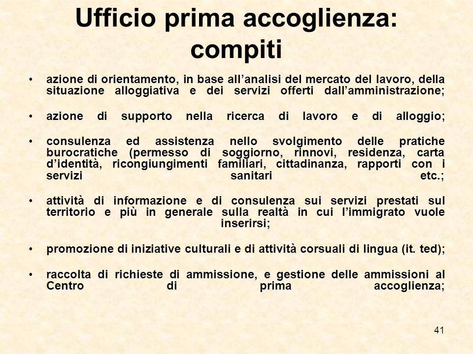 41 Ufficio prima accoglienza: compiti azione di orientamento, in base allanalisi del mercato del lavoro, della situazione alloggiativa e dei servizi o