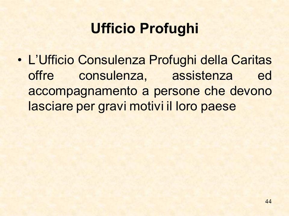44 Ufficio Profughi LUfficio Consulenza Profughi della Caritas offre consulenza, assistenza ed accompagnamento a persone che devono lasciare per gravi