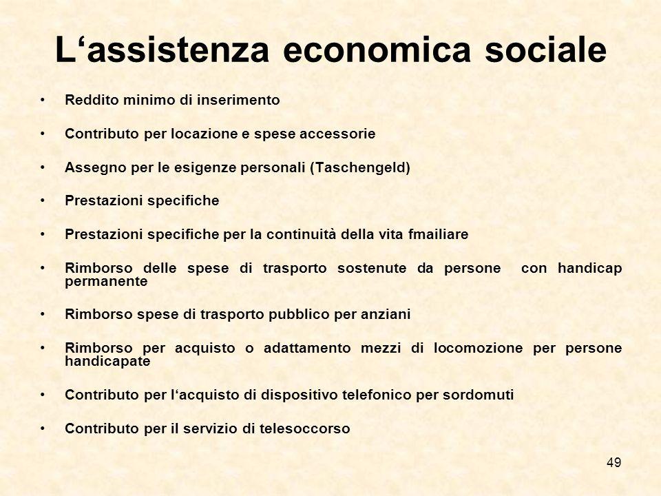 49 Lassistenza economica sociale Reddito minimo di inserimento Contributo per locazione e spese accessorie Assegno per le esigenze personali (Tascheng