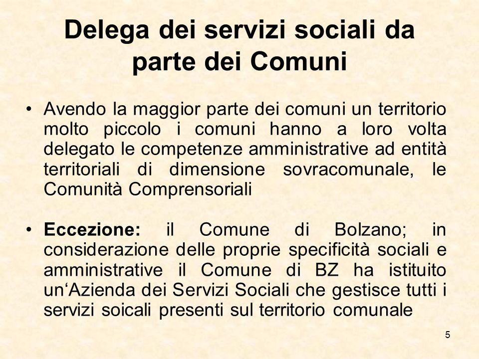 5 Delega dei servizi sociali da parte dei Comuni Avendo la maggior parte dei comuni un territorio molto piccolo i comuni hanno a loro volta delegato l
