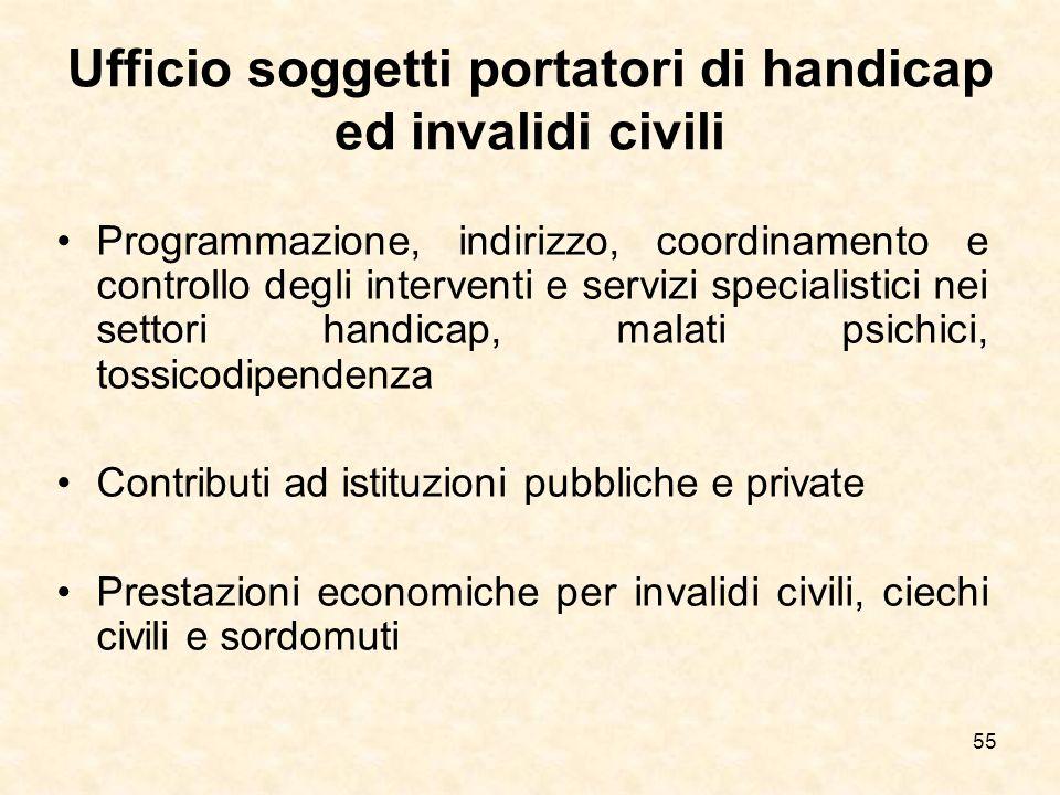 55 Ufficio soggetti portatori di handicap ed invalidi civili Programmazione, indirizzo, coordinamento e controllo degli interventi e servizi specialis