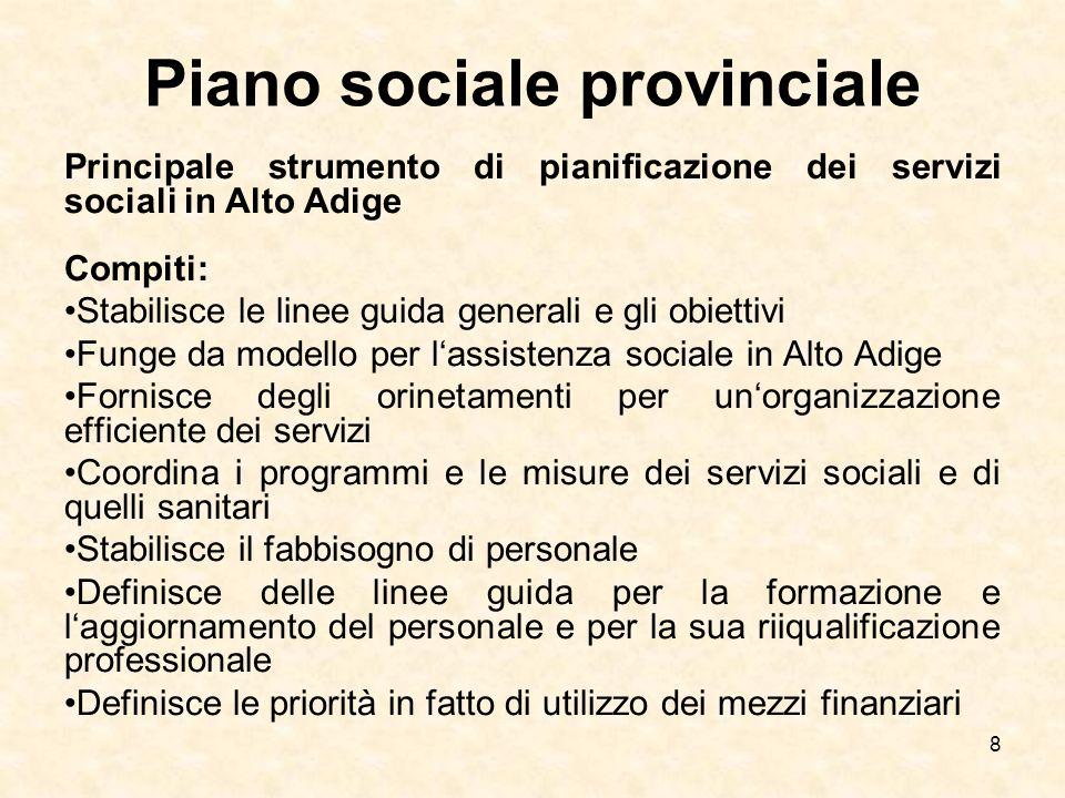8 Piano sociale provinciale Principale strumento di pianificazione dei servizi sociali in Alto Adige Compiti: Stabilisce le linee guida generali e gli