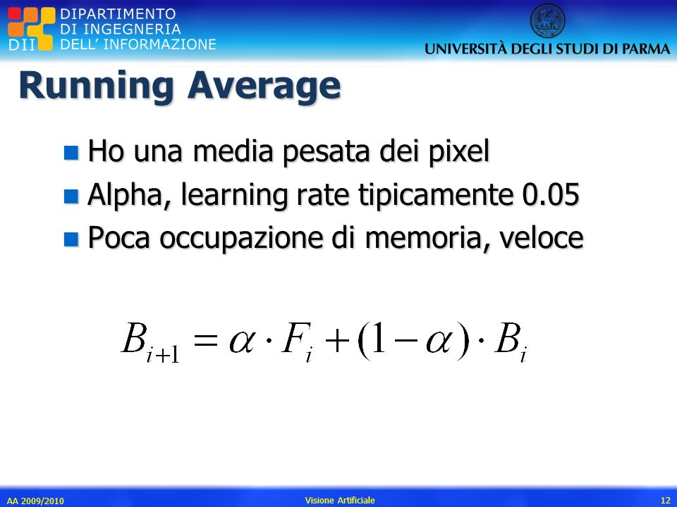 Running Average n Ho una media pesata dei pixel n Alpha, learning rate tipicamente 0.05 n Poca occupazione di memoria, veloce AA 2009/2010 Visione Art