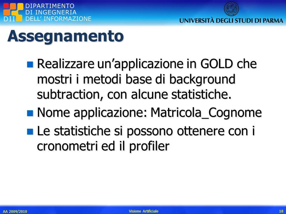 Assegnamento n Realizzare unapplicazione in GOLD che mostri i metodi base di background subtraction, con alcune statistiche. n Nome applicazione: Matr