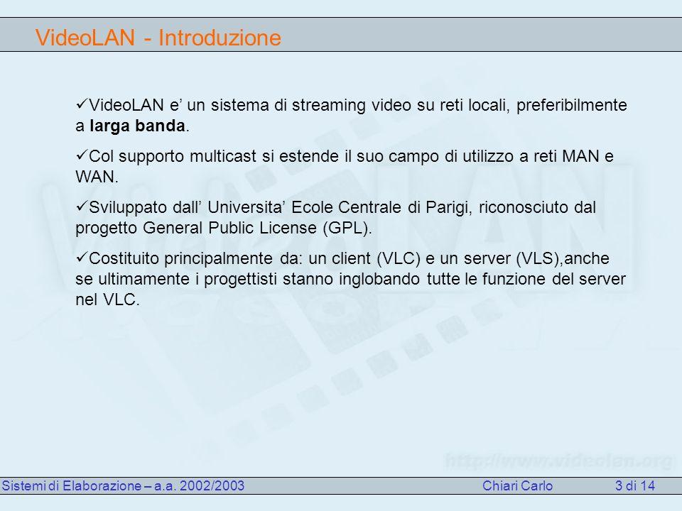 VideoLAN - Introduzione Sistemi di Elaborazione – a.a.