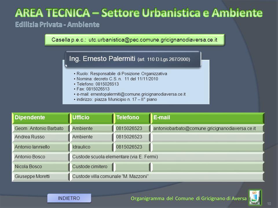 10 INDIETRO Ruolo: Responsabile di Posizione Organizzativa Nomina: decreto C.S. n. 11 del 11/11/2010 Telefono: 0815026513 Fax: 0815026513 e-mail: erne