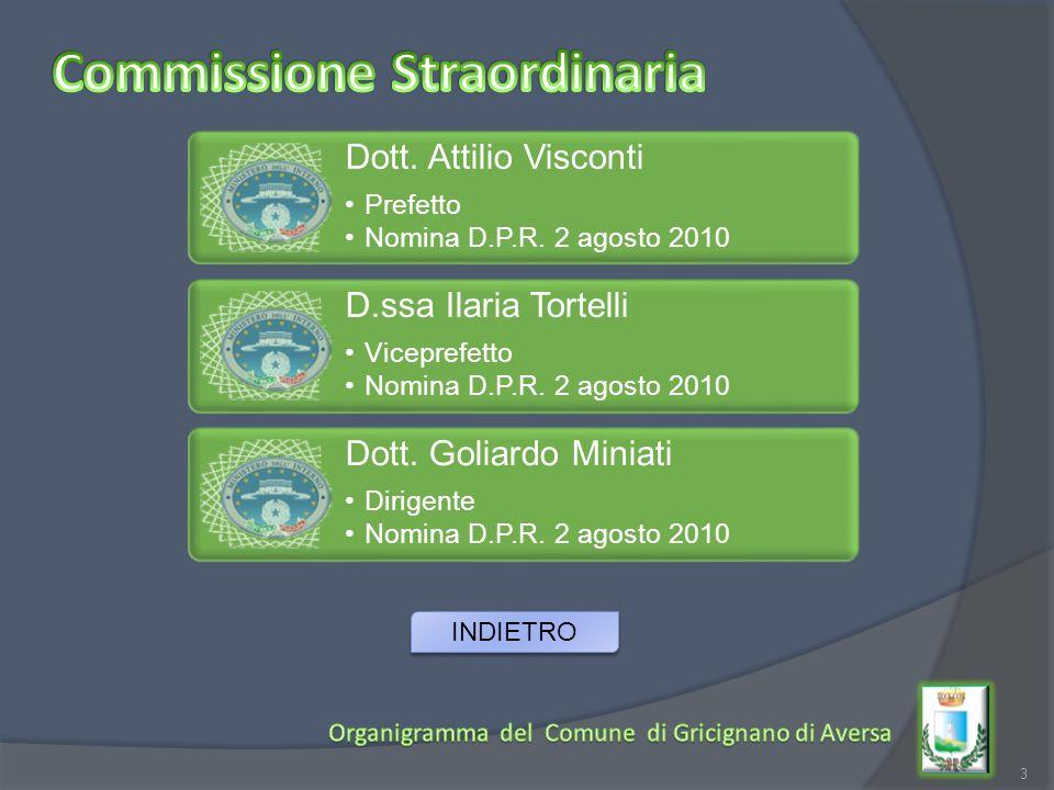 3 Dott. Attilio Visconti Prefetto Nomina D.P.R. 2 agosto 2010 D.ssa Ilaria Tortelli Viceprefetto Nomina D.P.R. 2 agosto 2010 Dott. Goliardo Miniati Di