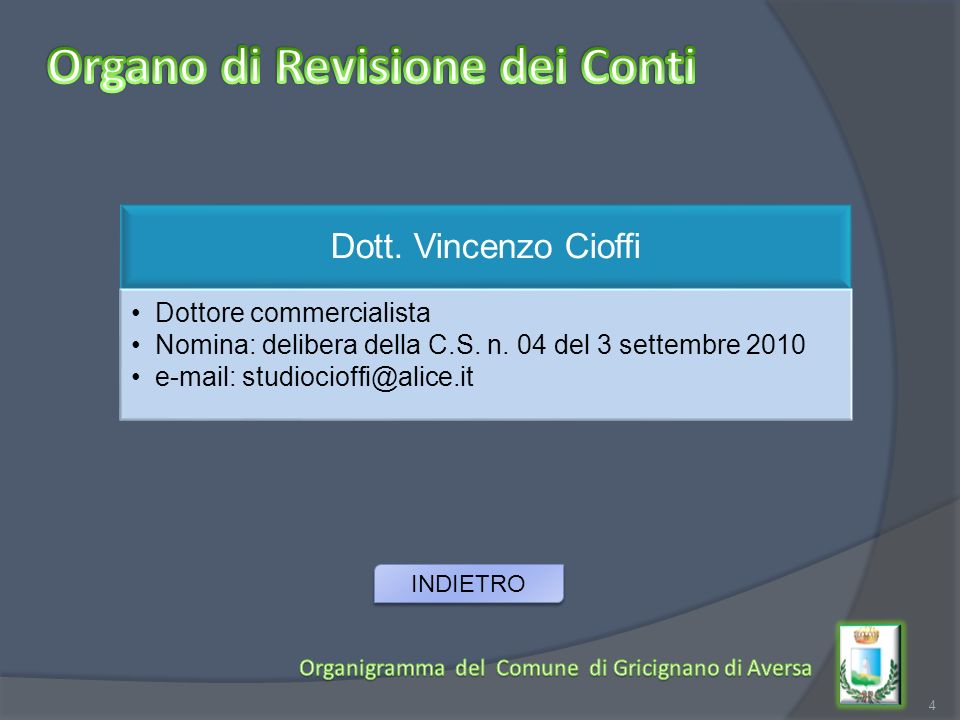 4 Dott. Vincenzo Cioffi Dottore commercialista Nomina: delibera della C.S. n. 04 del 3 settembre 2010 e-mail: studiocioffi@alice.it INDIETRO
