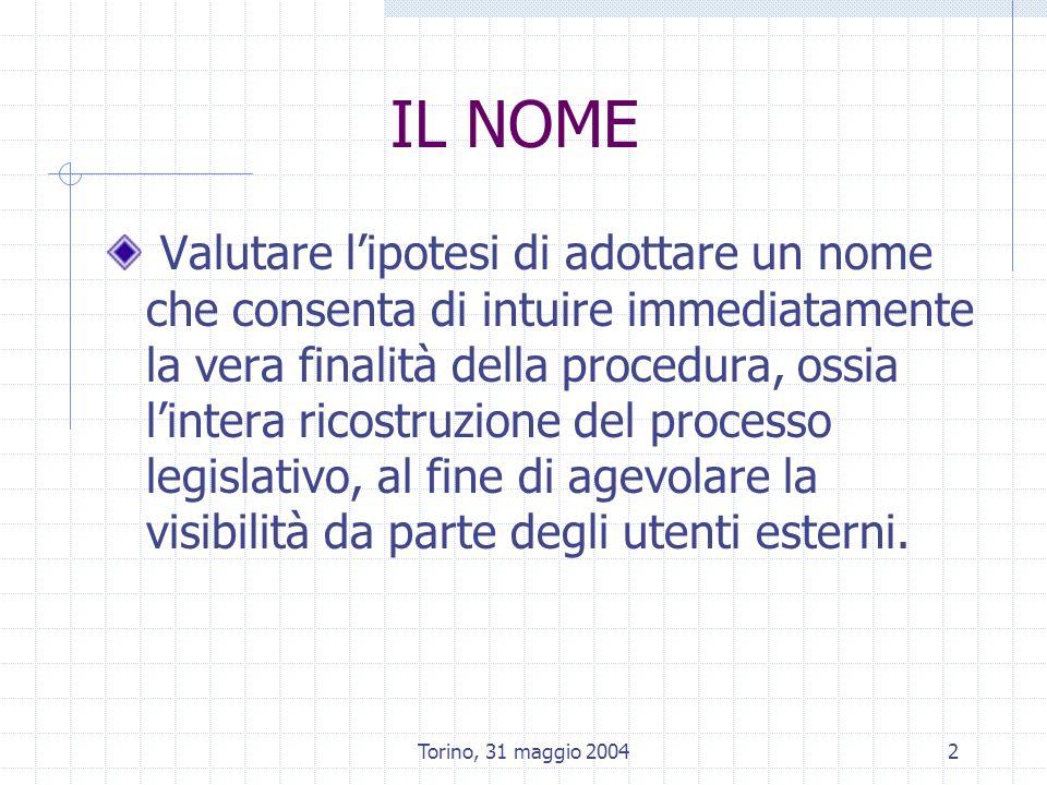 Torino, 31 maggio 20043 RELAZIONI CON I NUOVI INDICATORI GIURIDICI Indicatori di attuazione (clausola valutativa) Notifica UE Attuazione regolamentare (protocollo dintesa CR – GR) Strumenti di concertazione