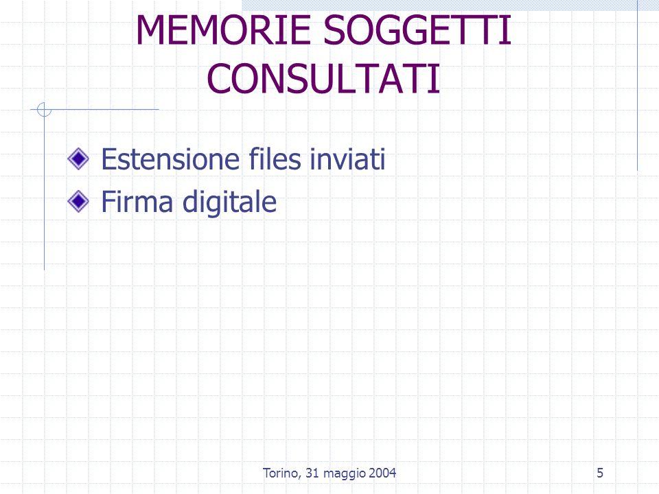 Torino, 31 maggio 20046 DENOMINAZIONI SPECIFICHE studi – nome eterogeneo allegati ai nodi critici