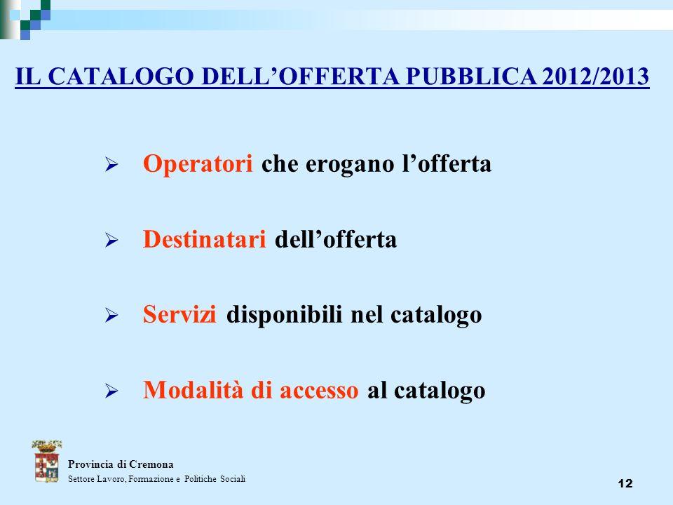 12 IL CATALOGO DELLOFFERTA PUBBLICA 2012/2013 Operatori che erogano lofferta Destinatari dellofferta Servizi disponibili nel catalogo Modalità di acce