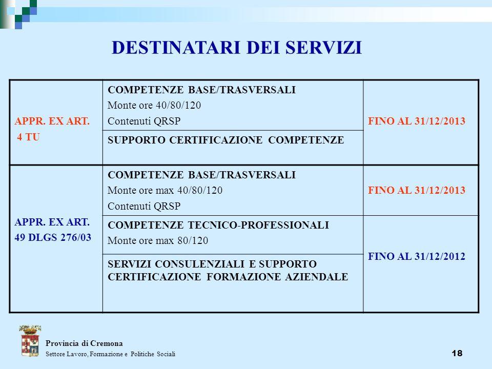 18 Provincia di Cremona Settore Lavoro, Formazione e Politiche Sociali DESTINATARI DEI SERVIZI APPR. EX ART. 4 TU COMPETENZE BASE/TRASVERSALI Monte or