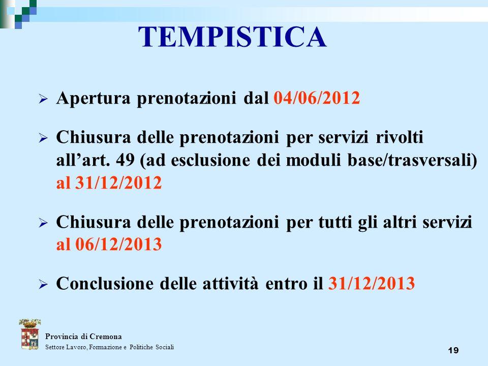 19 TEMPISTICA Apertura prenotazioni dal 04/06/2012 Chiusura delle prenotazioni per servizi rivolti allart. 49 (ad esclusione dei moduli base/trasversa