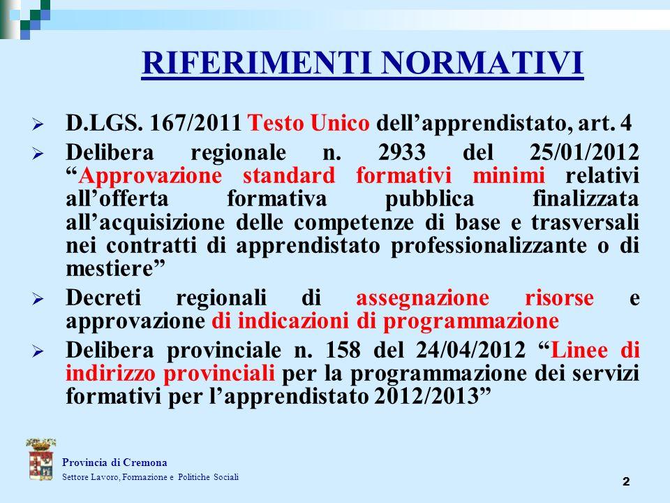 2 RIFERIMENTI NORMATIVI D.LGS. 167/2011 Testo Unico dellapprendistato, art. 4 Delibera regionale n. 2933 del 25/01/2012Approvazione standard formativi