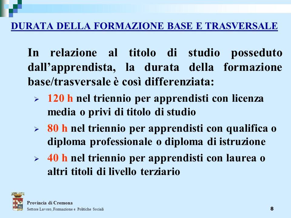 8 DURATA DELLA FORMAZIONE BASE E TRASVERSALE In relazione al titolo di studio posseduto dallapprendista, la durata della formazione base/trasversale è