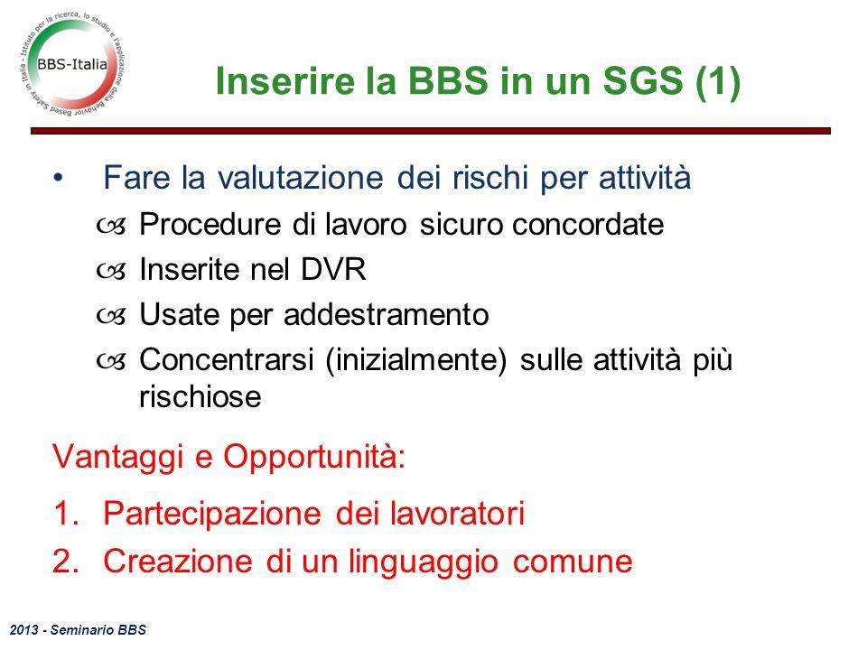 2013 - Seminario BBS Inserire la BBS in un SGS (1) Fare la valutazione dei rischi per attività –Procedure di lavoro sicuro concordate –Inserite nel DVR –Usate per addestramento –Concentrarsi (inizialmente) sulle attività più rischiose Vantaggi e Opportunità: 1.Partecipazione dei lavoratori 2.Creazione di un linguaggio comune