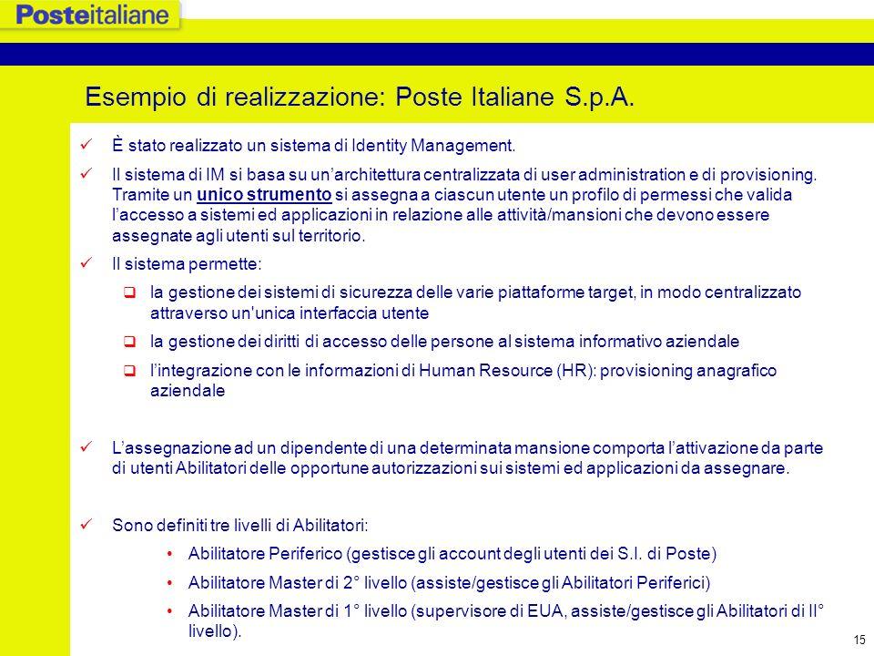 16 Sistema di IM di Poste Italiane: architettura Uffici Postali Windows NT e-Procurement AribaBuyer Human Resource RACF IBM Z/OS Mainframe Il sistema di IM è in produzione dal 1 Settembre 2005.