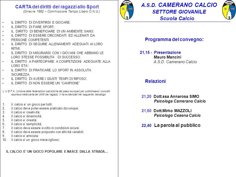 Programma del convegno: 21,15 - Presentazione Mauro Mancini A.S.D. Camerano Calcio Relazioni 21,20 Dott.ssa Annarosa SIMO Psicologa Camerano Calcio 21
