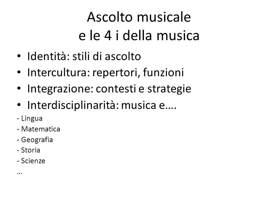 Ascolto musicale e le 4 i della musica Identità: stili di ascolto Intercultura: repertori, funzioni Integrazione: contesti e strategie Interdisciplina